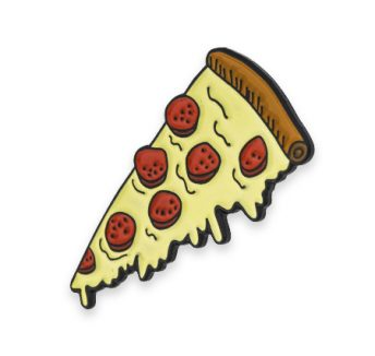 cheesy pizza slice illustration custom enamel badge