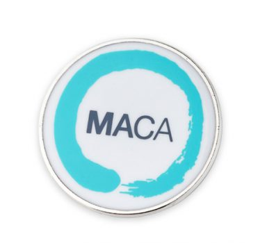 Round enamel badge printed with MACA logo